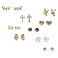 Dragonfly, Cross, Love Earring Stud 9-Pack