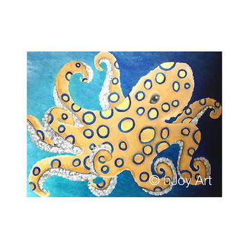 "Blue-Ringed Octopus, 24""x18"" acrylic on canvas painting, sea life art,"