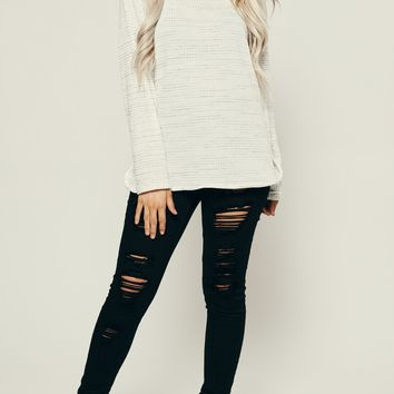 Half Of My Heart Thermal Knit Top (Heather Grey)