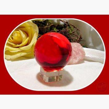 """Vitality & Passion"" Red Quartz Crystal Ball & Stand"