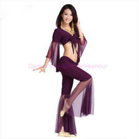 Belly dance costume sexy gauze sleeves top+gauze pants 2pcs set for women belly dance costume exercie set 11kinds of colors