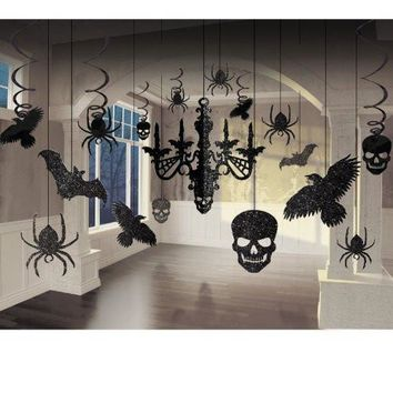 Spooky Glitter Paper Chandelier 17 Pieces