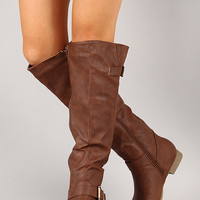 Buckle Riding Knee High Boot