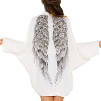 White Wings Back Print Loose Sweater Dress