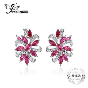 JewelryPalace Pegion Blood Red Ruby Luxury Engagement Wedding Earrings Clip Solid 925 Sterling Solid Silver Gift  Charm Jewelry