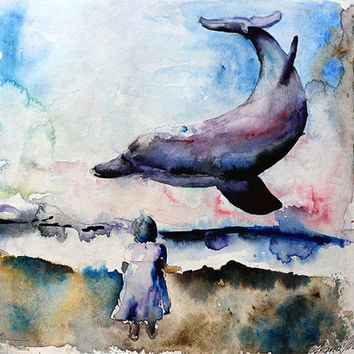 Woman. Sea. Dolphins print. Gulls.  Womanwatercolor art print. Wall art, wall decor, digital print.