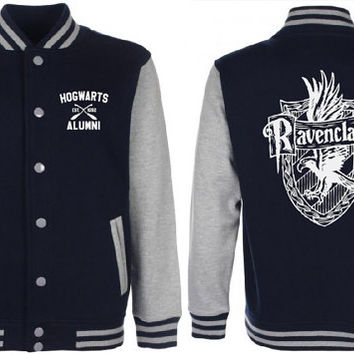 Ravenclaw Quidditch (Navy Blue/Gray) Varsity Jacket Unisex Harry Potter Fan Tumblr Pinterest Clothing