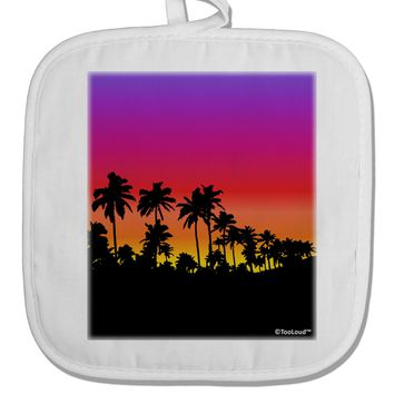Palm Trees and Sunset Design White Fabric Pot Holder Hot Pad by TooLoud