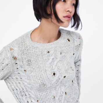 CABLE KNIT EYELET SWEATER
