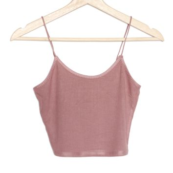 Ribbed Knit Cami - Dusty Mauve