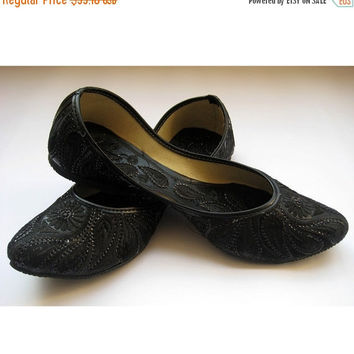 12% VALENTINES SALE Black Sequin Bridal Ballet Flats / Black Paisley Shoes/ Wedding Shoes/Handmade Indian Designer Women Shoes or Slippers