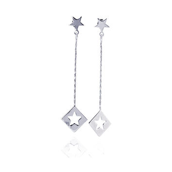 .925 Sterling Silver Rhodium Plated Open Dangling Wire Heart Hook Earring: SOD