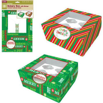 Christmas Bakery Box with cupcake holder and gift tag stickers