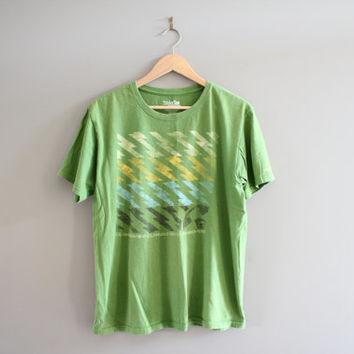 Quicksliver Graphic Tee Zig Zag Pattern Green Slim Fit Cotton Vintage 90s Size L #T127A