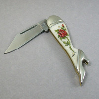 Scrimshaw Leg Pocket Knife with Red Rose