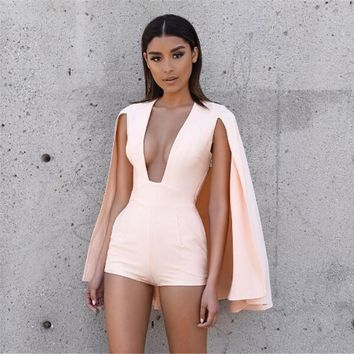 2016 Summer Style Rompers Women Jumpsuit New Fashion Sexy deep v neck jumpsuit romper pink Casual short overalls Bodysuit