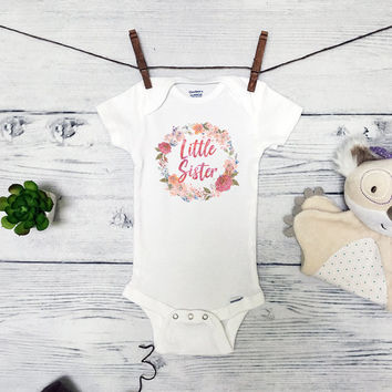 Little Sister Baby Onesuits® Sister Baby Clothes - Cute Baby Shower Gifts - Baby Dinosaur -  Infant Toddler - Baby Girl Clothes - M43