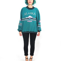 80s 90s Alaska Sweatshirt Slouchy Unisex Crewneck Sweater Teal Mountains Winter Pullover Fleece Sweatshirt Mens Hipster Jumper (M/L)