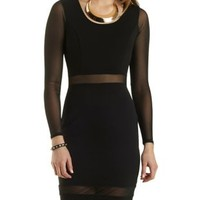 Mesh Cut-Out Long Sleeve Bodycon Dress by Charlotte Russe - Black