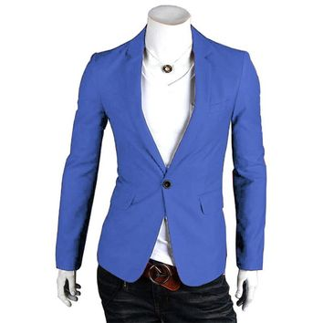 2017 Autumn Men's Casual Slim Fit Suit Blazer Coat Jacket Long Sleeve Tops One Button Fashion Stylish Solid Formal Brand New