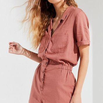 UO Out + About Linen Shirt Romper | Urban Outfitters