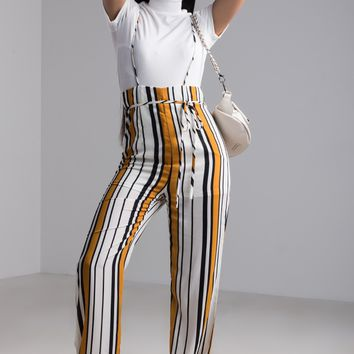 AKIRA Striped High Rise Topless Jumpsuit Pants in Mustard Navy White