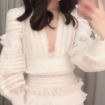 Lots Of Love White Long Lantern Sleeve Ruffle Plunge V Neck Bodycon Mini Dress