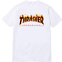 Thrasher Magazine Yellow Flame Logo White & Black T-Shirt