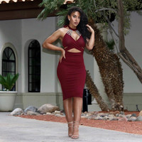 Crystal Maroon Midi Dress