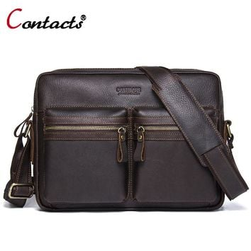 CONTACT'S Genuine Leather men Bag Men handbags male Shoulder Messenger Bags For Men Business Laptop Briefcase travel bag Tote