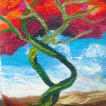 abstract trees, wall art tree, wet felted, entwined