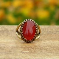 Carnelian Statement Ring - Gold Ring - Autumn red and orange - Brass Prong Set Cocktail Ring
