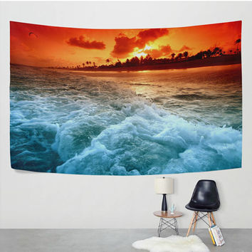 Sunset Seaside Wave Tapestry Wall Hanging Beach Ocean Nature Landscape Hippie Boho Decor Art For