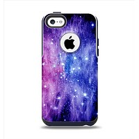 The Purple and Blue Scattered Stars Apple iPhone 5c Otterbox Commuter Case Skin Set