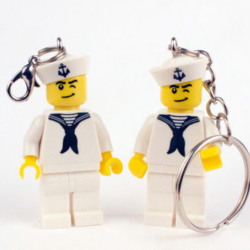 LEGO® Minifigure Sailor / Zipper pull / Keychain / US Navy / Custom / Mini Figure / Key ring / Bookmark