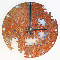 Puzzle Wall Clock V (Small Rusted)