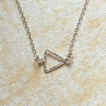 Sideways Triangle Necklace- Geometric Jewelry- Minimalist Necklace- Layer Necklace- Dainty Necklace- Modern Necklace- Isosceles- Delta