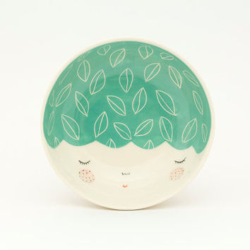Mint ceramic bowl - mint serving bowl - gift idea - face plate - Baby shower gift - home decor - serveware - ice cream bowl - MADE TO ORDER