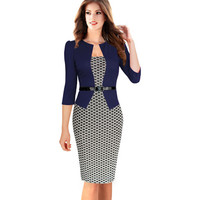 Womens Autumn Elegant Plaid Formal Business Dresses Office Pencil Sheath Colorblock Patchwork Half Sleeve Dresses Plus Size B237