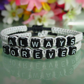 One Set of Couples Bracelets, His and Hers Bracelet,always forever Bracelets, Anniversary Gifts, Bridesmaid Jewelry, Friendship