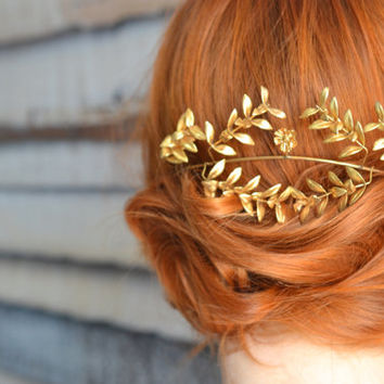Antique Bridal Wedding Crown, Gold German Myrtle Tiara, Golden Metal Headpiece, Fairy Tiara, Boutonniere Groom Pin Corsage