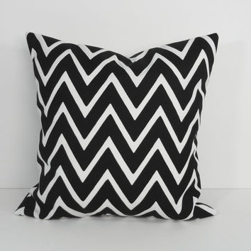 Chevron Black and White Designer Pillow Cover, Throw Pillow Cover, 16 x 16 Cushion Cover