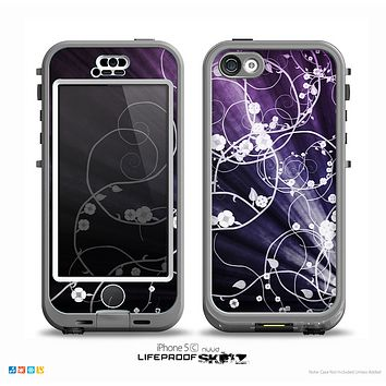 The Dark Purple Light Arrays with Glowing Vines Skin for the iPhone 5c nüüd LifeProof Case