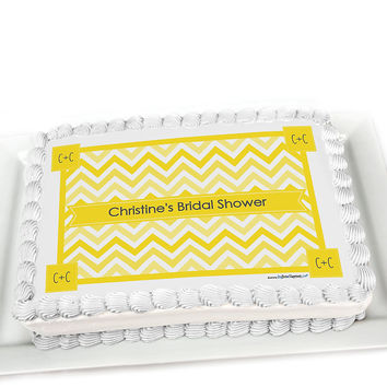 Chevron Yellow - Personalized Bridal Shower Cake Topper