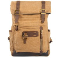 Retro Brown Large Laptop Rucksack Splicing Cowhide Outdoor Travel Canvas Backpack
