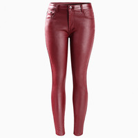 Red Faux Leather Mid Waist Stretch Skinny Pants