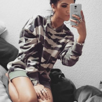 Long sleeved T-shirt Camo sweater TOP