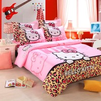 Textiles,Brand Logo Hello Kitty Bedding ,Children Cartoon