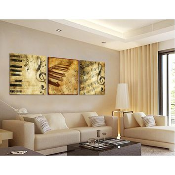 Modern Wall Art Home Decoration Printed Oil Painting Pictures Frame Art Canvas Prints 3 Panel Classical Piano Music Notes T/1228