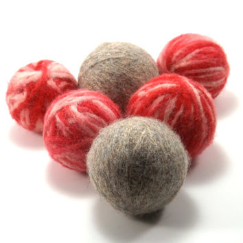 Felted Wool Dryer Balls - Red and White Striped Laundry Balls - Eco-Friendly Laundry Balls - Chemical Free Laundry - Money Saving